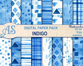 Digital Watercolor Indigo Seamless Paper Pack, 16 printable Digital Scrapbooking papers, geometric Collage, Instant Download, set 360