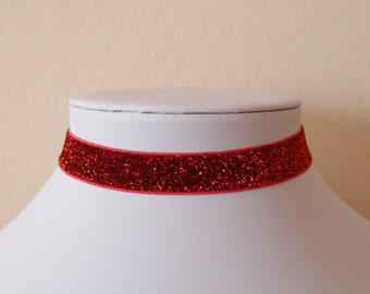 Red Glitter Choker 16mm / Necklace Retro 90s / For Her / Red Choker