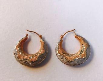 14k rose and white gold earrings