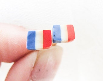 French Flag Earrings, France Studs, Paris Studs, France Flag Jewelry
