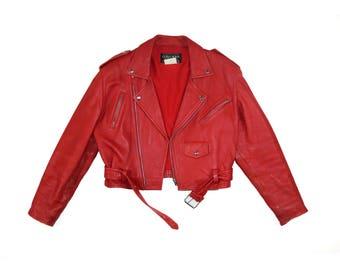 The ULTIMATE Red Leather Biker Jacket, Size Med/Large // Vintage Leather Size 42 //  Made in Canada // Motorcycle Jacket // Biker Jacket
