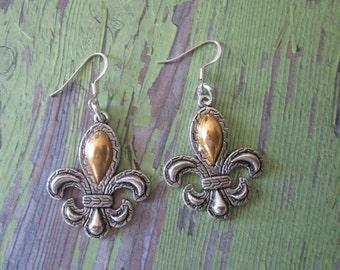 Handmade Silver and Gold Fleur De Lis Dangle Earrings, bling jewelry, Louisiana Jewelry, New Orleans Saints Jewelry, gift idea, casual wear