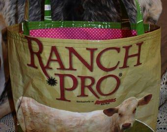 Recycled feed sack w/charolias cow/calf w/a hot pink polka dot  fabric liner bag/purse/tote/handbag/shopping bag/stock show/ffa