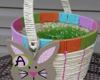 Bunny monogram tag, Easter basket monogram, Girl's Easter basket decoration