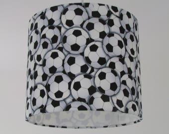 Boys lampshade etsy new handmade black and white football soccer boys drum lampshade lightshade aloadofball Images