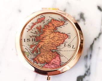 Scotland Mirror Compact - Rose Gold - Compact Mirror - Makeup Mirror - Purse Mirror - Bridesmaid Gift - Honeymoon Gift - Bridesmaid Proposal
