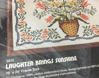 Vintage 1970s Cross Stitch Sampler Kit Embroidery Floral Dimensions Needlework Laughter Brings Sunshine