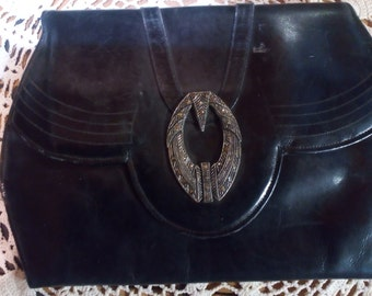 Vintage Black Leather Small Clutch  Purse..Real Marcasites on Latch..Clean and Awesome