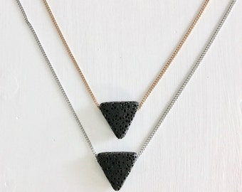Minimalist Triangle Necklace; Rose Gold; Stainless Steel; Lava Stone Diffuser Necklace; Triangle Lava Stone; Essential Oil Diffuser Necklace