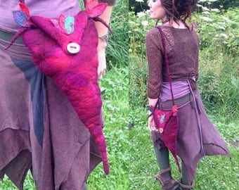 The 'Floralia' Pixie Nuno Felted Bag Woodland Fairy Messenger in Vivid Fuschia with Embroidered Felt Leaves Fantasy Fae LARP Cosplay Costume