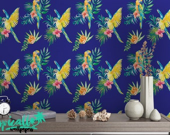 Tropical Print Wallpaper - Removable Wallpapers - Floral Parrot Wallpaper - Self Adhesive Wall Decal - Temporary Peel and Stick Wall Art