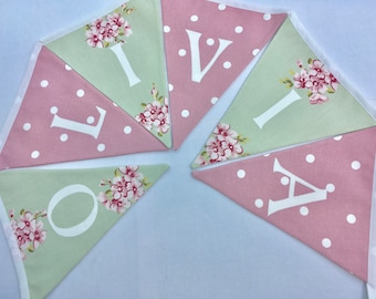 Personalized Bunting  Personalised Name Pennant  Banner  Pale Green Floral and Pink Dotty - Please select amount of flags