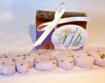 8 mini heart shaped bathbombs and soap slice LAVENDER gift set