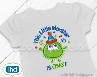 Birthday Applique Design -- This Little Monster is One Applique Embroidery Design -- Ooga Booga Birthday Design OBBI001