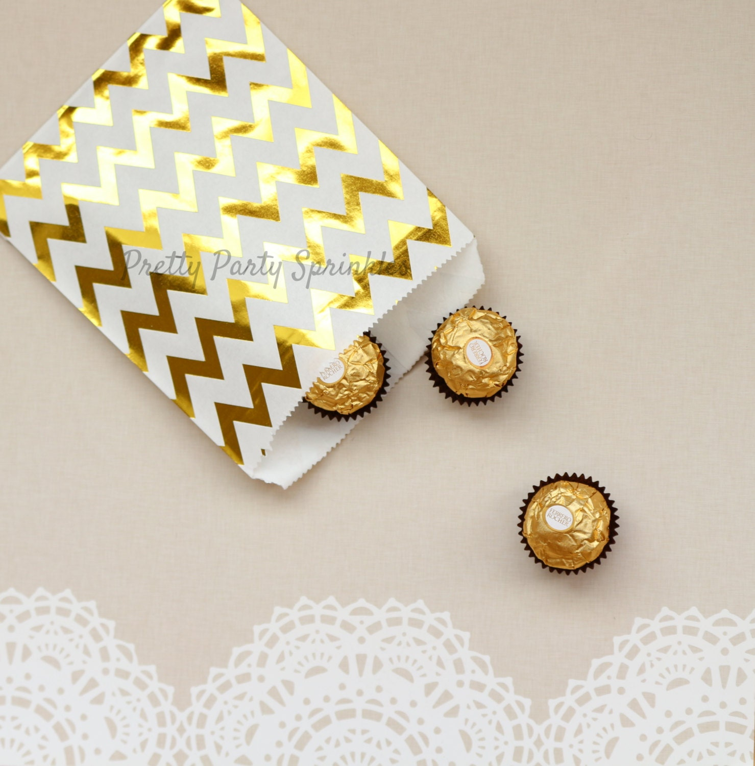 Chevron Gold Foil Favor Bags/Paper Bags/Polka Dots/Gold Candy