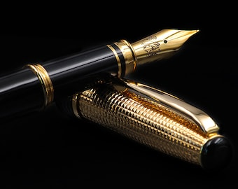 Handmade Fountain Pen Vermeil Solid Silver 925 Cap & Gold plated 18 Kt details Made in Italy