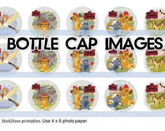 """Lion Guard  printables  4x6 - 1"""" circles, bottle cap images,"""