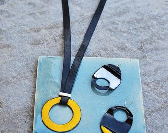 Handmade enamel on copper necklace and earrings, jewelry set, unique jewelry, yellow, white, black