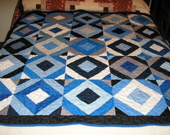 Handmade Lap Quilt, Wall Hanging, Blue, Gray, Black and White Lap Quilt, Large Quilt, 55x 55 inches