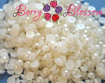 10mm Half Ivory Pearls - Flat back pearls - half pearls - flower center, pearl beads - pearl embellishment