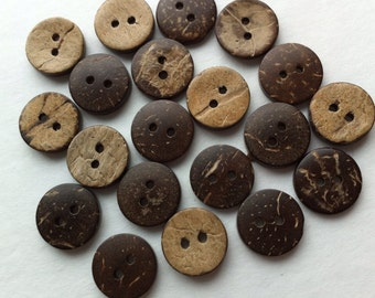 """100 Coconut Buttons 15mm Coconut Shell Button 5/8"""" inch Wooden Button Natural Wood Embellishment Sewing Button Craft Supplies Bulk buttons"""