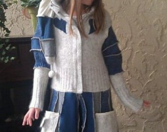 Girls fairy coat with liripipe hood in blue and cream