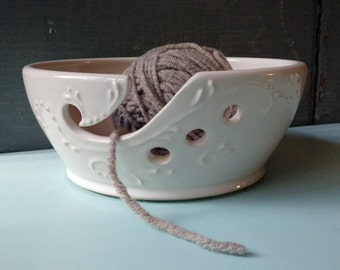 8 inch wide White Yarn Bowl, Tip Resistant, Crochet, Knitting, present, gift, Mothers Day, Christmas, IN STOCK, ready to ship