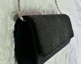 Structured Evening Bag / Purse - Black Beads & Satin, Silver Wristlet Chain