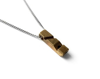 Brass Whistle Necklace - Men's Necklace - Geometric Jewelry - Vintage Necklace - Necklace for men by Modern Out