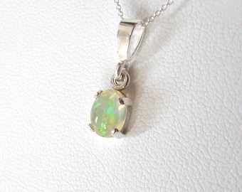 Opal Gemstone Pendant Necklace, Ethiopian Welo Opal, Sterling Silver Setting and Chain