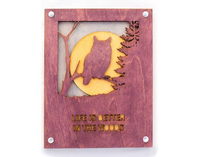 Owl Art - Rustic Wall Art - Mountain Wall Decor - Owl Scene - Mountain Decor - Mountain Home Art - Owl Gift - Nature Lovers Gift