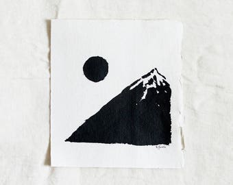 Moon & Mountain Original Landscape Ink Painting By Britt Fabello