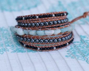 Gemstone & Leather Wrap Bracelet