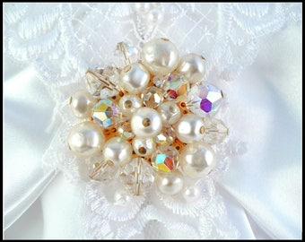 Aurora Borealis Crystal & White Pearl Brooch, Baroque Pearls and AB Crystals, Bridal Gown Sash Brooch, Mothers Day Gift for Her