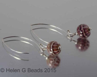 Sterling silver and  lampwork glass earrings in burgundy by Helen Gorick