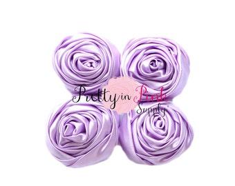 Lavender Satin TWISTED Rosettes- You Choose Quantity- Rolled Rosettes- Rolled Rosettes- PrettyinPinkSupply- DIY Supply Shop
