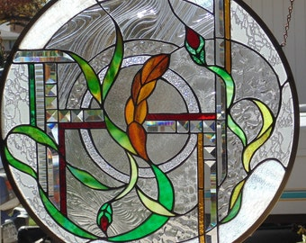 Colorful Abstract Stained Glass Window Hanging 23 3/4 round