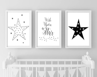 Boy Nursery Prints Wall Decor, Wish Upon a Star, Monochrome, Black White Nursery, Star Print, Instant Download, Nursery Wall Art, Minimalist