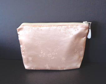 Peach clutch, brides purse, bridal clutch, bridesmaid gift, wedding purse, evening bag, cosmetic pouch, jewelry pouch, Mother's Day, prom