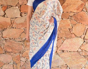 Blue and White Ikat Sarees