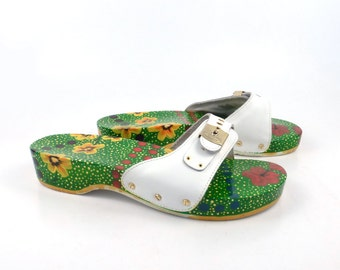 Dr Scholls Sandals Vintage 1990s White Leather and Painted Wood Exercise Shoes Women's size 9