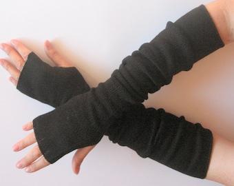 "Long Fingerless Gloves Black 20"" Arm Warmers Mittens Soft Acrylic Wool"