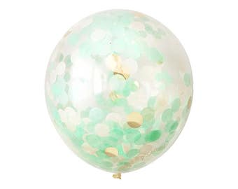 "Mint Confetti Balloon with Gold - Choose 12, 16, 18, 36 inch - Large & Small - 1"" Circle Filled - Tissue Paper - Nautical Cake Smash First"