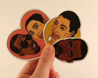 kim and kanye west stickers laptop labels tags illustration