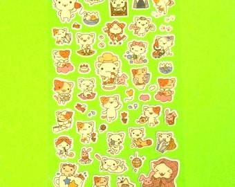 Little Cat Kitten Kitty Animal Cute Super Kawaii Kitschy Kyuuto Puffy Vinyl Sticker Set