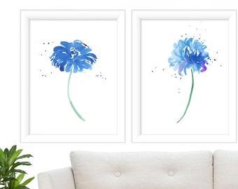 Watercolor Print Set of 2 - Blue Botanical Prints - Minimalist Floral Art Print - Botanical Blue Floral Prints - Prints - Wall Art Poster