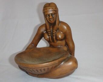 Rare Vintage Brown Frankoma High Indian Bowl Maker/ Frankoma 123/ Frankoma Indian Maiden Bowl Maker in Brown