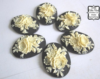 Shabby Rose Cabochon - set of 6 - unset - 40/30 - Black and Ivory - victorian vintage style