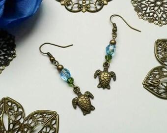 Earrings, turtle, turtle, ear jewellery, glass beads