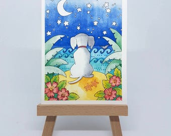 "Mini Wishing Dog Print - ACEO Size - 2.5""x3.5"""